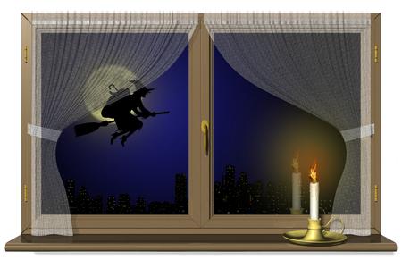 Halloween, epiphany, sleepy with broom in the night. Stock Photo