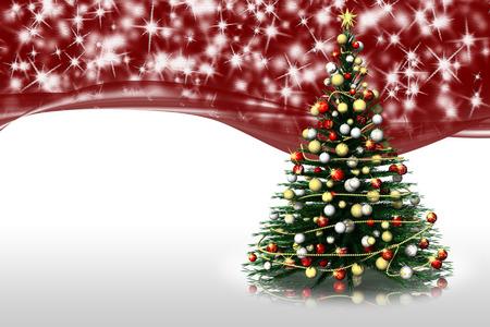 Natale. Abete decorato, sfondo rosso con stelle. Spazio per testo.