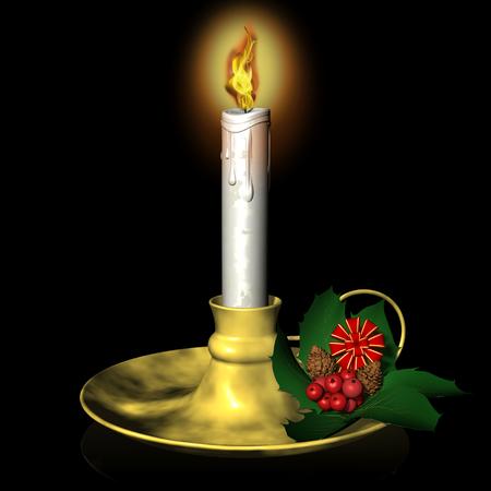 나탈 레. Candela con decorazione natalizia. 네로. 스톡 콘텐츠