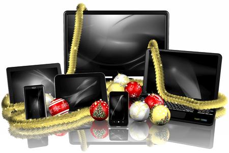 Natale. Prodotti informatica con decorazione natalizia.