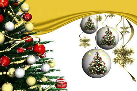 Natale. Addobbo natalizio e abete decorato con sfondo bianco.
