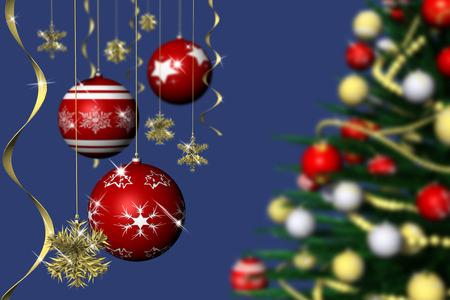 Natale. Addobbo natalizio e abete decorato con sfondo blu.