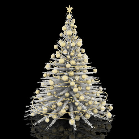 christmas decoration white christmas tree with gold decorations stock photo 89033605 - White Christmas Tree With Gold Decorations