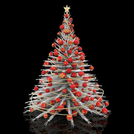 christmas decoration white christmas tree with red decorations stock photo 90595076