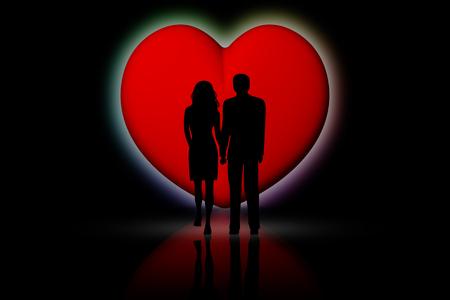 Coppia innamorati con cuore rosso di sfondo.