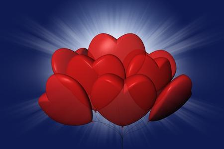 Palloncini a forma di cuore. Sullo sfondo il cielo