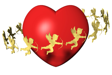 Valentines Day, heart and cupid. White background.