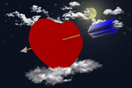 Love. Valentines day. Heart pierced by an arrow in the sky, in the clouds, to symbolize love.