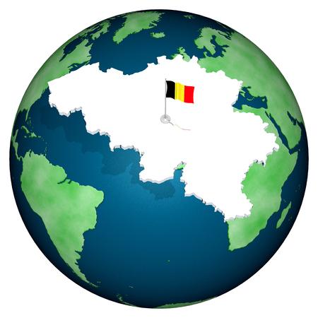 Profilo, confini e bandiera  della nazione, con il mondo sullo sfondo.