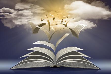 Pagine di libro volano verso  il sole nell'l'infinito del cielo azzurro.