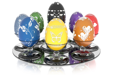 Series decorated Easter egg. Eggs with glass stand on a white background.
