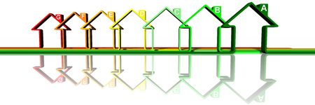 Houses, stylized houses to symbolize efficiency and energy saving.