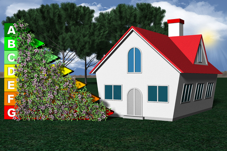 Energy efficiency applied to homes. Symbol energy conservation and home inserted in the green and in nature.