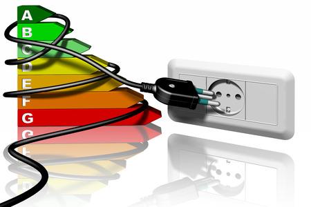 Spina e presa elettrica. Simbolo di Ecologia e risparmio energetico.