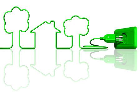 Spina e presa elettrica di colore verde. Ecologia e risparmio energetico.