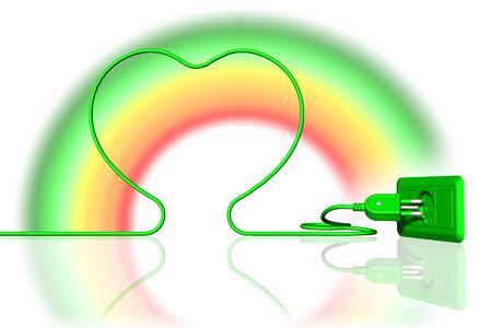 cavo e presa elettrica di colore verde con arcobaleno. Energia ecologica. Archivio Fotografico