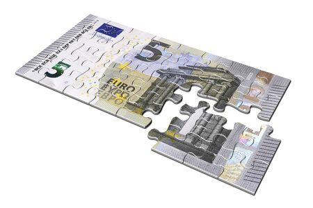 3D illustration. Five euro puzzle on white background.