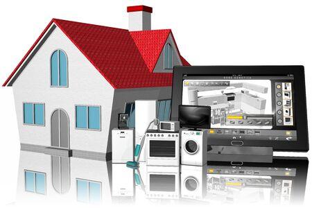 Interfaccia su tablet di applicazione domotica affiancata a casa di abitazione.