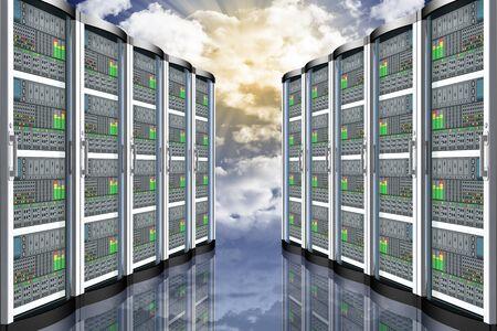 Computer data server. Computer data connection and storage, applications. Archivio Fotografico