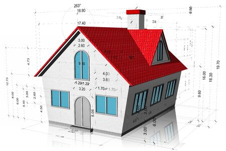 House with measurements, construction project isolated on white background.