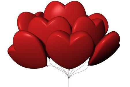Palloncini a forma di cuore. Sfondo bianco.