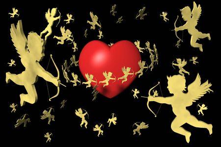 San Valentino, cuore e cupido. Sfondo nero.