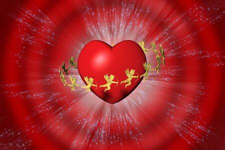 San Valentino, cuore e cupido. Sfondo rosso. Reklamní fotografie