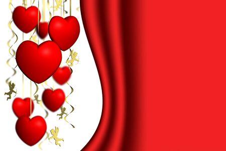 San Valentino. Cuori e Cupido con spazio per testo.