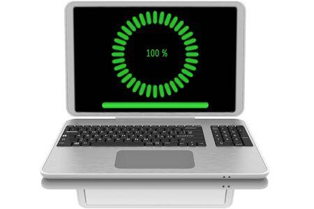 Open laptop computer with file download symbol. Standard-Bild