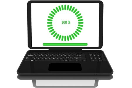 Open laptop computer with file download symbol.