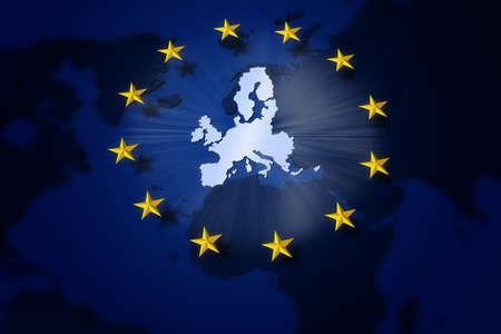 Europe. European union flag. Circle of yellow stars on Europe map background.