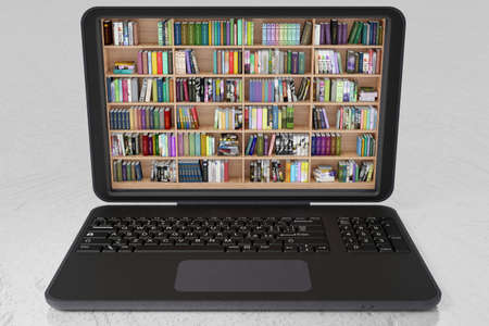 Library, with lots of books, inside a laptop. Ebooks, electronic books, available for download on portable computing device.