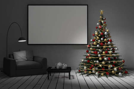 3d illustration. In the living room of the house there is the Christmas tree, under which there are Christmas gifts. 스톡 콘텐츠