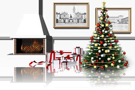 Christmas. Living room with fireplace, Christmas tree and gifts. Stock Photo