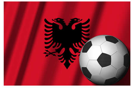 Albania. National flag with soccer ball in the foreground. Sport football - 3D Illustration Zdjęcie Seryjne