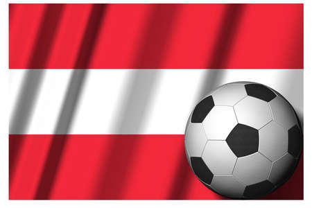 Austria. National flag with soccer ball in the foreground. Sport football - 3D Illustration Zdjęcie Seryjne