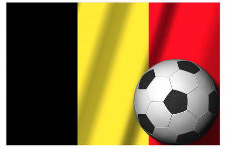 Belgium. National flag with soccer ball in the foreground. Sport football - 3D Illustration Zdjęcie Seryjne