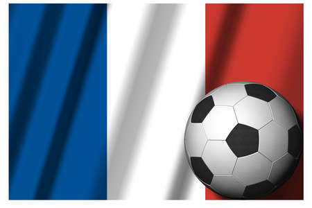France. National flag with soccer ball in the foreground. Sport football - 3D Illustration Zdjęcie Seryjne