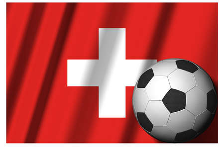 Switzerland. National flag with soccer ball in the foreground. Sport football - 3D Illustration Zdjęcie Seryjne