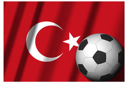 Turkey. National flag with soccer ball in the foreground. Sport football - 3D Illustration Zdjęcie Seryjne
