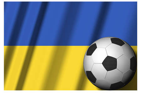 Ukraine. National flag with soccer ball in the foreground. Sport football - 3D Illustration