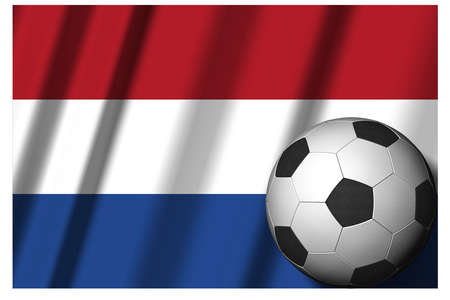 Netherlands. Holland. National flag with soccer ball in the foreground. Sport football - 3D Illustration