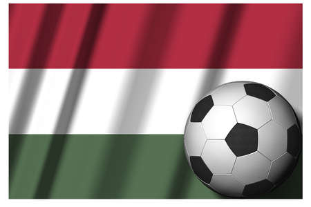 Hungary. National flag with soccer ball in the foreground. Sport football - 3D Illustration