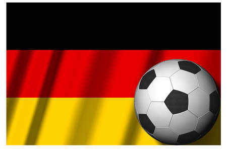 Germany. National flag with soccer ball in the foreground. Sport football - 3D Illustration