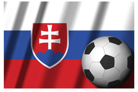 Slovakia. National flag with soccer ball in the foreground. Sport football - 3D Illustration