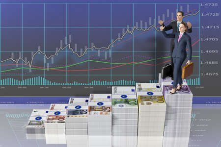 3d illustration. Businessman and businesswoman climb economic and financial success. Scale of money, euro, in front of finance graph. Success, investment, profit. Zdjęcie Seryjne