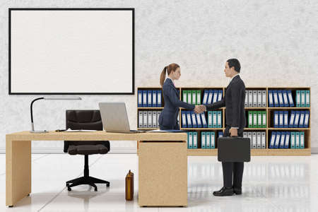 3d illustration. Office, manager, employees work with contract, consulting, finance. Handshake for business.