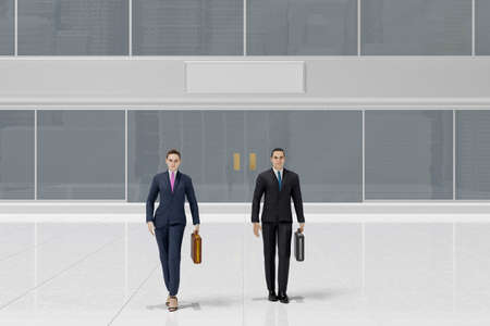 3d illustration. Businessman and businesswoman in front of bank or financial building. Contract, agreement, financial transaction.