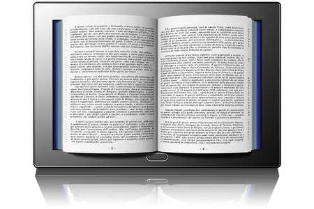 Book with text inside tablet, e-book Zdjęcie Seryjne