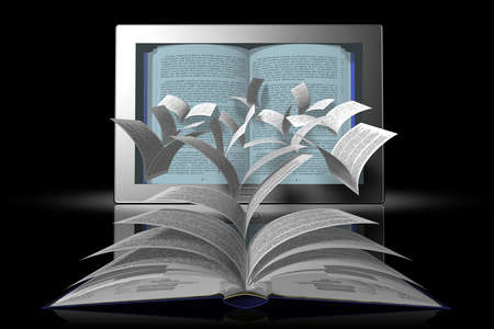 Book pages come off and fly to tablets, e-books